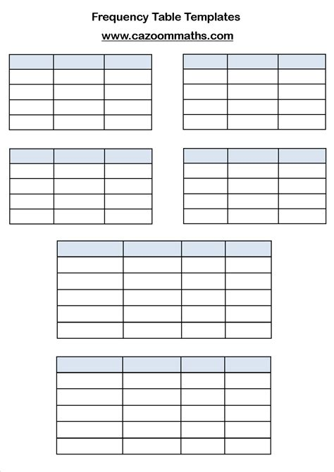 frequency table template gcse statistics worksheets ks3 and ks4 statistics worksheets