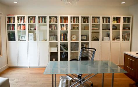 simple and sleek bookshelf design with glass doors for the