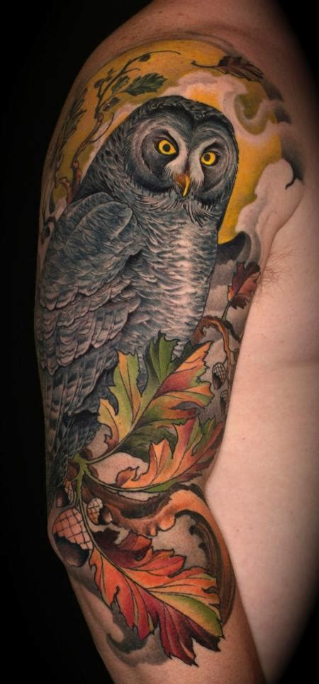 great grey pictures tattoos photos great grey owl and oak by ben merrell tattoo inspiration