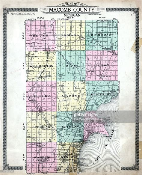Macomb County Search Michigan 1916 Macomb County Outline Map Macomb County Stock Illustration Getty Images