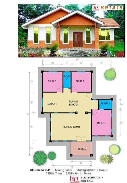 layout rumah 4 bilik rekaan menarik mahligai impian 3 bilik kamar 2 bilik air