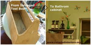 Creative upcycling ideas a salvaged tool box into a bathroom cabinet