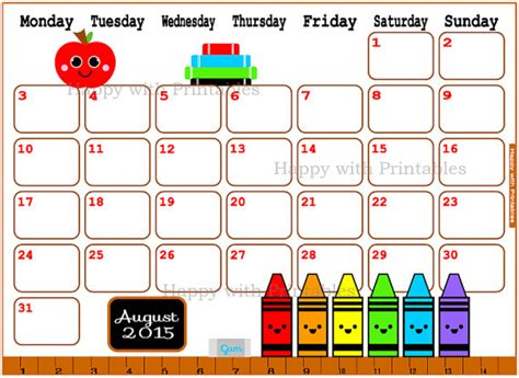 printable calendar 2015 august cute calendar august 2015 printable back to by happywithprintables