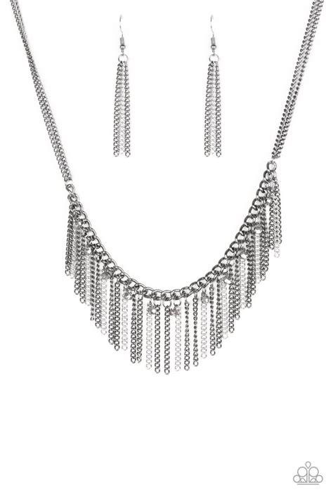 paparazzi retro edge black gunmetal  silver chain