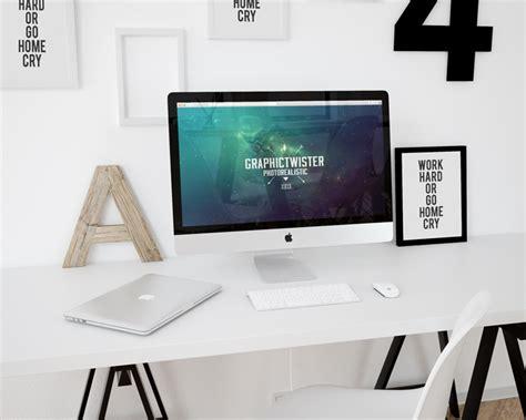 design poster on imac workspace mockup imac template mockup templates images