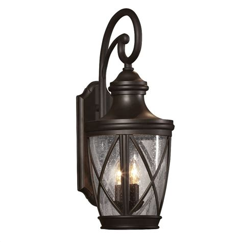 Outdoor Lighting Lowes Shop Allen Roth Castine 23 75 In H Rubbed Bronze Outdoor Wall Light At Lowes