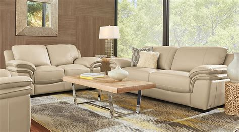beige sofa living room home grand palazzo beige leather 3 pc