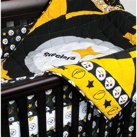Football Crib Bedding Set Nfl Pittsburgh Steelers 4pc Football Crib Bedding Set