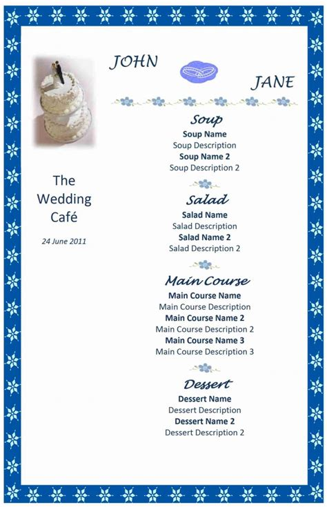 menu templates free wedding menu