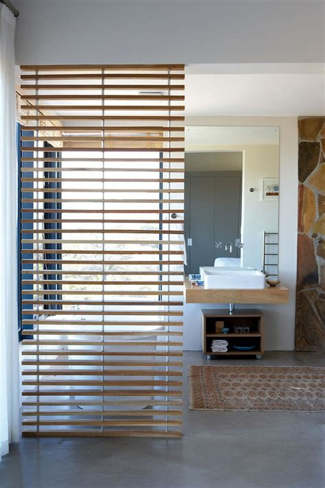 The Slatted Wooden Room Divider In The Bathroom In The Bathroom Room Dividers