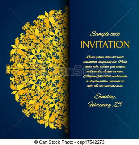 exhibition invitation card template vectors illustration of ornamental blue with gold