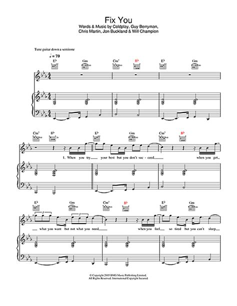 coldplay us against the world chords fix you sheet music by coldplay piano vocal guitar