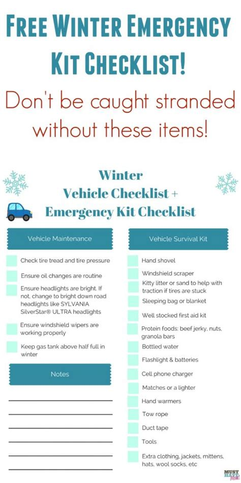Philosophy Winter Weather Survival Kit by Free Winter Vehicle Checklist Emergency Kit Checklist