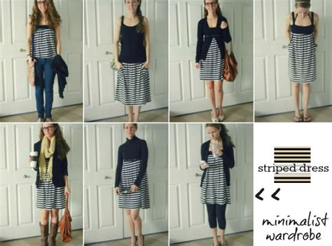 Minimalist Wardrobe by Beginner Beans Striped Dress 7 Ways For All Seasons