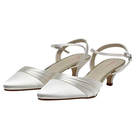 Wedding Shoes Low Heel Ivory by Julie By Rainbow Club Dyeable Ivory Satin Low Heel