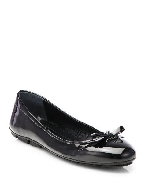 Prada Flats lyst prada patent ballet flats in black