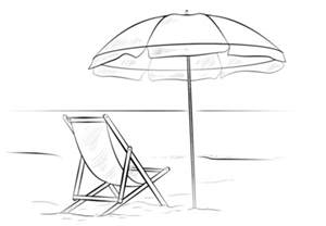 chair and umbrella coloring page free printable