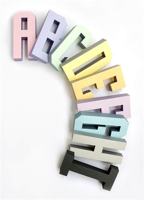Papercraft Alphabet - 3d alphabet templates mr printables