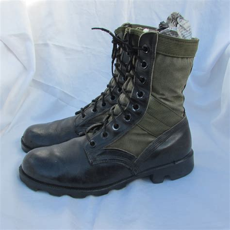 mens combat boots mens 8 womens 10 black leather canvas combat boots