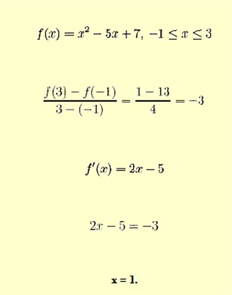 mean value theorem exles answers