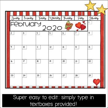 calendar printable  anna elizabeth tpt