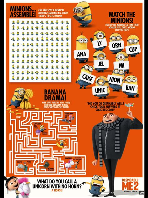 minions printable activity sheets despicable me 2 activity sheet confusions and connections