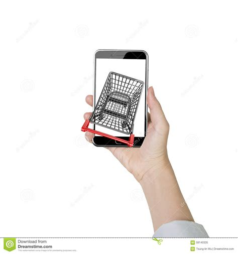 Smart Phone Smart Shopping by Holding Smartphone With Shopping Cart On White
