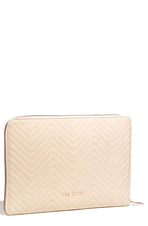 Quilted Laptop Sleeve by Ted Baker Lianna Quilted Patent Laptop Sleeve In Beige