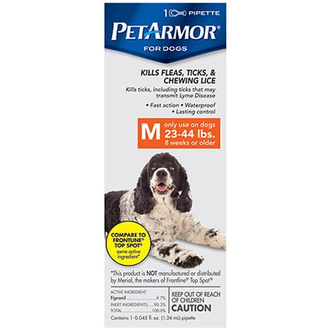 flea protection for dogs petarmor flea tick protection for dogs 23 44 pounds 1 month supply dogs walmart