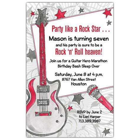 Party Like A Rock Star Invitations Paperstyle Rock Birthday Invitation Templates