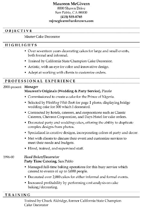 Resume Sample: Master Cake Decorator