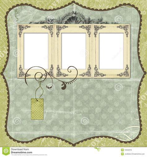 scrapbook layout designs free blue scrapbook layout with vintage embellishments stock