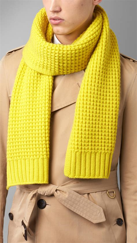 knitting pattern burberry scarf lyst burberry waffle knit cashmere scarf in yellow for men