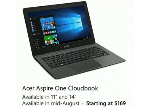 Laptop Acer Aspire One Cloudbook acer aspire one cloudbook with windows 10 coming in august for 169 windows central