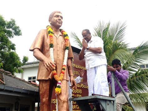 tamil mp sites statue of assassinated tamil mp raviraj unveiled tamil
