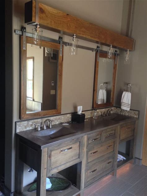 barn door medicine cabinet with mirror concrete sinks suspended beam lighting barn door