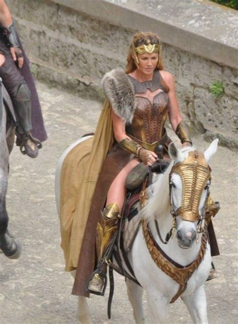amazon wonder woman queen hippolyta on horseback in the 2017 wonder woman film