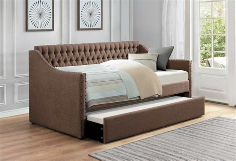 Tufted Daybed With Trundle Homelegance Tulney Button Tufted Upholstered Daybed With Trundle Brown 4966br