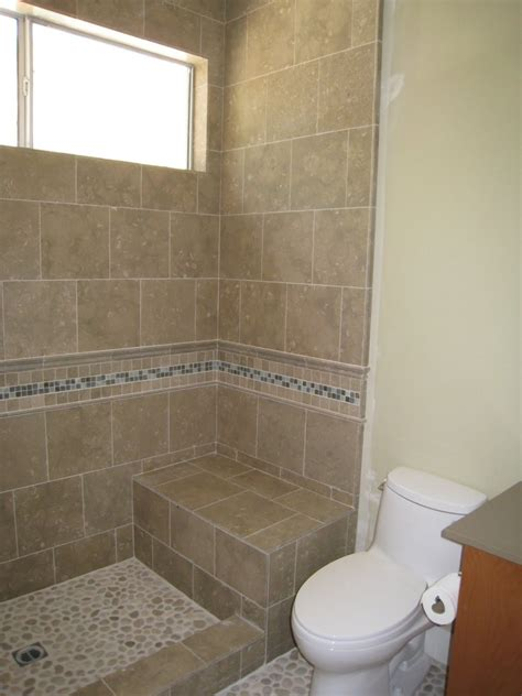 Small Bathroom Designs With Shower Stall Shower Stall Without Door With Border Tile And Chair For