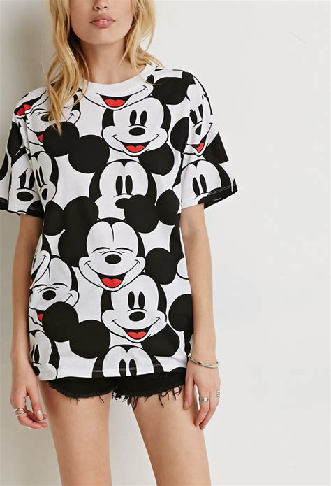 Mickey Katun Sweater Korea Fashion lyst forever 21 mickey mouse in black