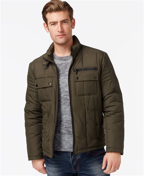moto style jacket lyst kenneth cole quilted moto style jacket in green for men