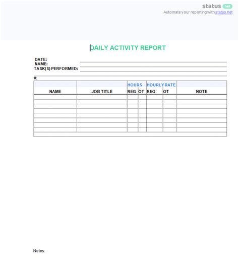 3 Top Downloads Of A Daily Work Log Template Free Template Download Daily Activity Report Template