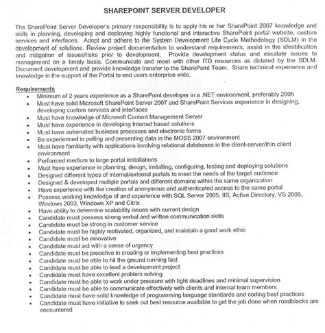 sharepoint developer resume sle sharepoint sle resume developers 28 images resume