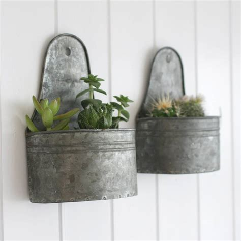 Zink Planters by Two Mini Zinc Wall Planters By Magpie Living