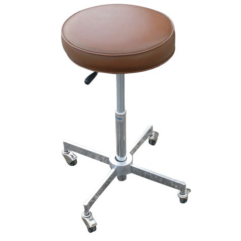 Vintage Adjustable Industrial Stool on Casters