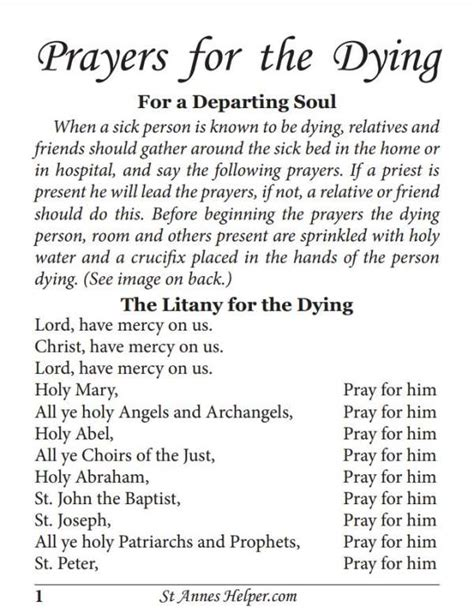 comfort prayers for the dying printable prayers for the dying booklet