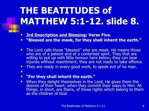 8 beatitudes and the works the beatitudes of matthew 5