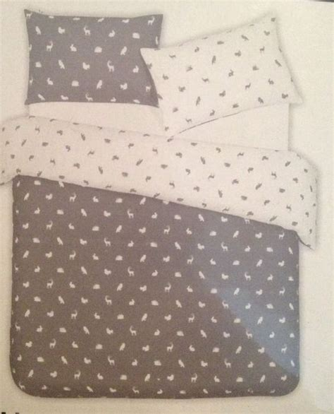 Duvet Covers Primark grey white duvet quilt cover bedding woodland rabbit stag deer hedgehog ebay primark