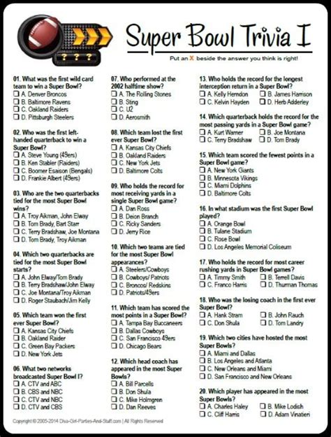 printable health quiz free printable multiple choice super bowl trivia game