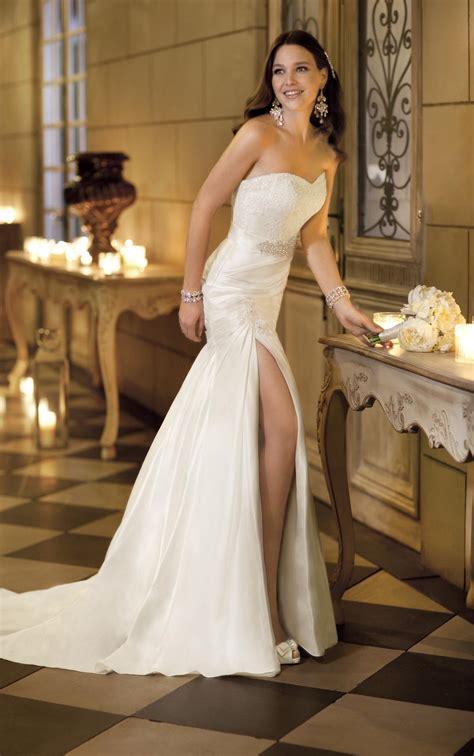 draped wedding dresses sexy strapless sweetheart lace bodice a line split draped